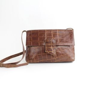 Carla Marchi Leather Brown Embossed Handbag